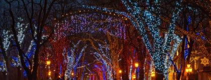 Φωτισμός Χριστουγέννων στη στο κέντρο της πόλης οδό Μέγεθος εμβλημάτων Στοκ φωτογραφία με δικαίωμα ελεύθερης χρήσης