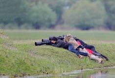 Φωτογράφοι άγριας φύσης στην εργασία Στοκ Εικόνα
