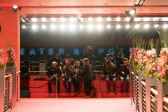 Φωτογράφοι στην εργασία κατά τη διάρκεια του φεστιβάλ ταινιών Berlinale Στοκ Φωτογραφίες