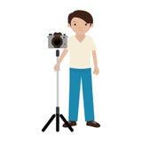 Φωτογράφος ατόμων με την επαγγελματική κάμερα στο τρίποδο απεικόνιση αποθεμάτων
