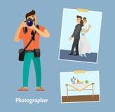 Φωτογράφος με τη ψηφιακή κάμερα και τις φωτογραφίες διανυσματική απεικόνιση