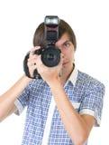 Φωτογράφος νεαρών άνδρων στοκ εικόνες