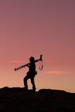 Φωτογράφος στο ηλιοβασίλεμα Στοκ Εικόνες