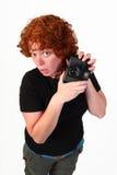 φωτογράφος redhead Στοκ Φωτογραφίες