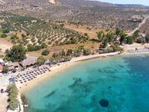 Φωτογραφία αέρα, παραλία Marathi, Chania, Κρήτη, Ελλάδα στοκ εικόνες