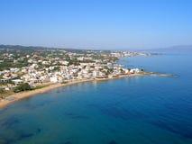 Φωτογραφία αέρα, παραλία Stalos, Chania, Κρήτη, Ελλάδα στοκ φωτογραφία με δικαίωμα ελεύθερης χρήσης