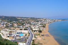 Φωτογραφία αέρα, παραλία Stalos, Chania, Κρήτη, Ελλάδα στοκ εικόνες