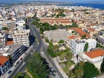 Φωτογραφία αέρα, πόλη Chania, Κρήτη, Ελλάδα στοκ εικόνα