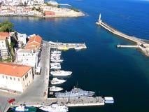 Φωτογραφία αέρα, πόλη Chania, παλαιά κωμόπολη, Κρήτη, Ελλάδα στοκ φωτογραφία