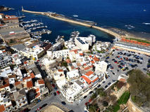 Φωτογραφία αέρα, πόλη Chania, παλαιά κωμόπολη, Κρήτη, Ελλάδα στοκ εικόνα