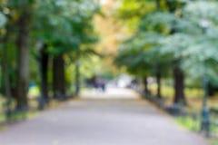 Φωτογραφία από το ηλιόλουστο πάρκο εστίασης στην Ευρώπη Δρόμος μέσω της πράσινης περιοχής με πολλά δέντρα Στοκ εικόνα με δικαίωμα ελεύθερης χρήσης