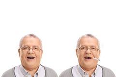 Φωτογραφία ενός ηλικιωμένου ατόμου που παρουσιάζει επιβλαβή effetcs του καπνίσματος Στοκ φωτογραφία με δικαίωμα ελεύθερης χρήσης
