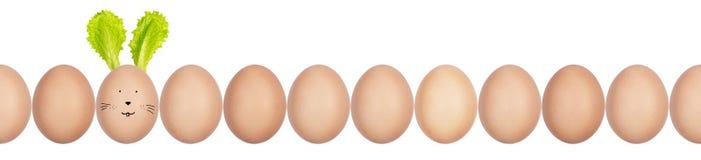 Φωτογραφία κινηματογραφήσεων σε πρώτο πλάνο των αυγών hen's με eggshell τη σύσταση σε μια σειρά Ένα αυγό τα αυτιά λαγουδάκι Πάσ στοκ εικόνες