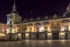 Φωτογραφία νύχτας Plaza de Λα Villa στην πόλη της Μαδρίτης, Ισπανία Στοκ Φωτογραφία