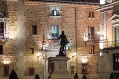 Φωτογραφία νύχτας Plaza de Λα Villa στην πόλη της Μαδρίτης, Ισπανία Στοκ Εικόνες