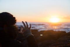 Φωτογραφία στο ηλιοβασίλεμα Στοκ Φωτογραφίες