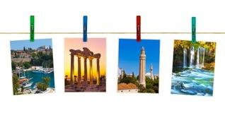 Φωτογραφία ταξιδιού της Τουρκίας Antalya στα clothespins Στοκ Φωτογραφία