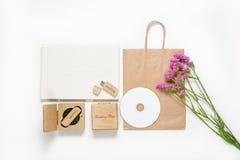 Φωτογραφία τεχνών που συσκευάζει τον όμορφο άσπρο γάμο photobook, κίνηση λάμψης Usb στο χειροποίητο ξύλινο κιβώτιο, δίσκος Cd πλα Στοκ εικόνες με δικαίωμα ελεύθερης χρήσης
