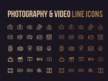 Φωτογραφία, τηλεοπτικό διανυσματικό εικονίδιο γραμμών για app, κινητός ιστοχώρος resp Στοκ Εικόνες