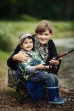 Φωτογραφία της αλιείας μικρών παιδιών στοκ εικόνες με δικαίωμα ελεύθερης χρήσης