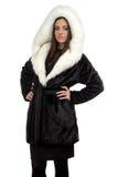 Φωτογραφία της γυναίκας στο παλτό γουνών Στοκ Φωτογραφία
