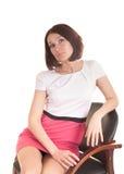 Νέα κυρία που απομονώνεται στο άσπρο υπόβαθρο στοκ φωτογραφίες με δικαίωμα ελεύθερης χρήσης
