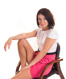 Νέα κυρία που απομονώνεται στο άσπρο υπόβαθρο στοκ εικόνες με δικαίωμα ελεύθερης χρήσης