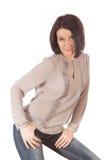 Προκλητική γυναίκα που απομονώνεται στο άσπρο υπόβαθρο στοκ φωτογραφία με δικαίωμα ελεύθερης χρήσης