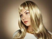 Φωτογραφία της όμορφης γυναίκας με το θαυμάσιο τρίχωμα στοκ εικόνα με δικαίωμα ελεύθερης χρήσης