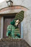 Φωτογραφία της όμορφης γυναίκας με το πράσινο κοστούμι καρναβαλιού μπροστά από την ξύλινη πόρτα Στοκ Εικόνα
