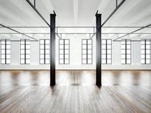 Φωτογραφία του εσωτερικού ανοιχτού χώρου στη σύγχρονη σοφίτα κενό λευκό τοίχων Ξύλινο πάτωμα, μαύρες ακτίνες, μεγάλα παράθυρα Ορι Στοκ εικόνες με δικαίωμα ελεύθερης χρήσης