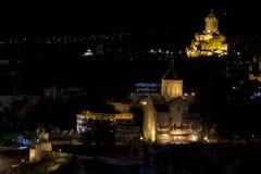 Φωτογραφία του κέντρου της νύχτας Tbilisi Στοκ φωτογραφίες με δικαίωμα ελεύθερης χρήσης