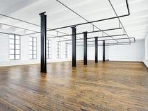 Φωτογραφία του κενού εσωτερικού EXPO στο σύγχρονο κτήριο Σοφίτα ανοιχτού χώρου κενό λευκό τοίχων Ξύλινο πάτωμα, μαύρες ακτίνες, μ Στοκ Φωτογραφία