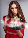 Φωτογραφία του κοριτσιού Χριστουγέννων santa Στοκ Εικόνες