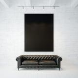 Φωτογραφία του μαύρου κενού καμβά στο τουβλότοιχο Στοκ Φωτογραφίες