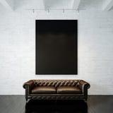 Φωτογραφία του μαύρου κενού καμβά στο χρωματισμένο τούβλο Στοκ Εικόνα