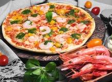 φωτογραφία τροφίμων γαρίδων πιτσών Στοκ Φωτογραφία