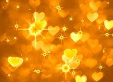 Φωτογραφία υποβάθρου καρδιών boke, φωτεινό κίτρινο χρώμα Αφηρημένοι διακοπές, εορτασμός και σκηνικό βαλεντίνων Στοκ φωτογραφίες με δικαίωμα ελεύθερης χρήσης