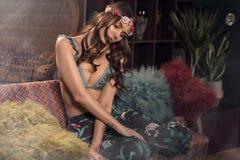 Φωτογραφία ύφους μόδας του κοριτσιού ύφους boho στοκ φωτογραφία με δικαίωμα ελεύθερης χρήσης
