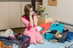 Φωτογραφίες κοριτσιών, που πηγαίνουν στις διακοπές Στοκ φωτογραφία με δικαίωμα ελεύθερης χρήσης
