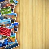 Φωτογραφίες στην ξύλινη ανασκόπηση διανυσματική απεικόνιση