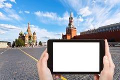 Φωτογραφίες τουριστών της κόκκινης πλατείας στη Μόσχα Στοκ Φωτογραφίες