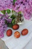 Φωτογραφίες των αυγών Πάσχας στο υπόβαθρο των κλάδων της πασχαλιάς στοκ φωτογραφία