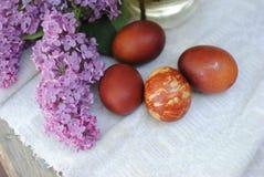 Φωτογραφίες των αυγών Πάσχας στο υπόβαθρο των κλάδων της πασχαλιάς στοκ φωτογραφίες