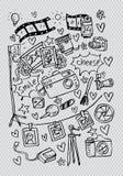 Φωτογραφικά doodles καθορισμένα διανυσματική απεικόνιση