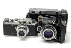 φωτογραφικές μηχανές παλαιά δύο στοκ εικόνες με δικαίωμα ελεύθερης χρήσης