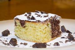Φωτογραφική διαφάνεια του κέικ σφουγγαριών σοκολάτας κρέμας με τις κλίμακες Στοκ φωτογραφία με δικαίωμα ελεύθερης χρήσης
