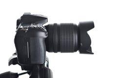 φωτογραφικών μηχανών ψηφιακό λευκό όψης φακών εστίασης απομονωμένο μέτωπο slr Στοκ φωτογραφία με δικαίωμα ελεύθερης χρήσης