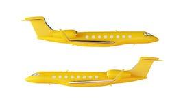 Φωτογραφιών μεταλλινών κίτρινο πολυτέλειας γενικό πρότυπο αεροπλάνων σχεδίου ιδιωτικό Σαφές απομονωμένο πρότυπο κενό άσπρο υπόβαθ Στοκ Φωτογραφίες