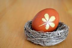 Φωλιά Πάσχας με το καφετί αυγό Πάσχας Στοκ εικόνες με δικαίωμα ελεύθερης χρήσης